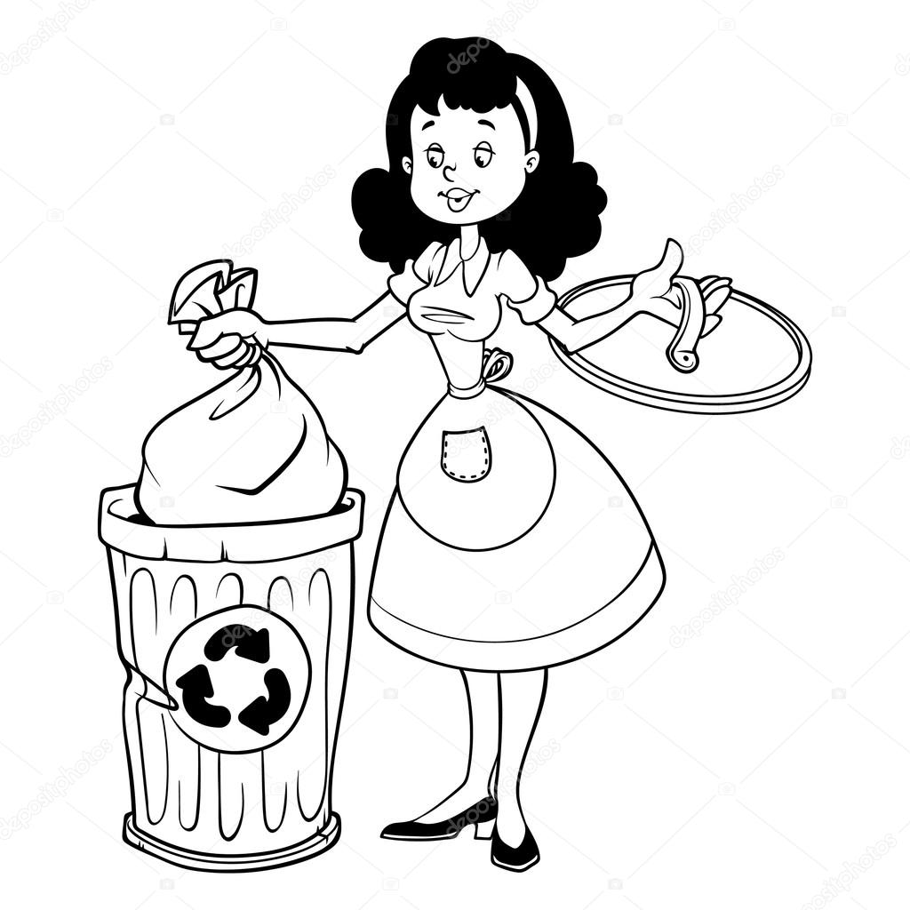 Cute housewife in apron throwing garbage. Outline on a white bac.