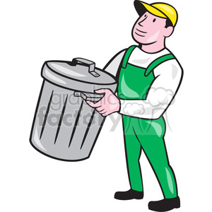 garbage collector rubbish bin ISO clipart. Royalty.
