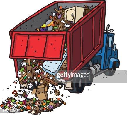 Dump Truck Dumping Trash Clipart Image.