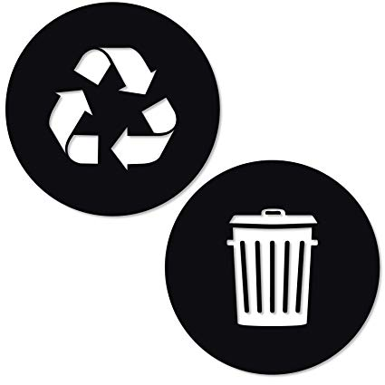 Recycle and Trash Sticker Logo Style 2 (5.5in x5.5in) Symbol to Organize  Trash cans or Garbage containers and Walls.