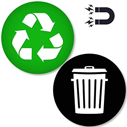 Recycle and Trash Logo Magnetic Sticker 4in x 4in.
