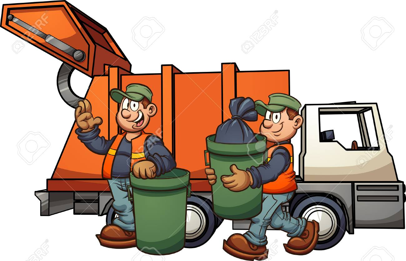 Cartoon garbage men with truck, picking up trash. Vector clip...