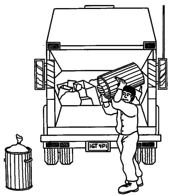 garbage man clipart black and white - Clipground