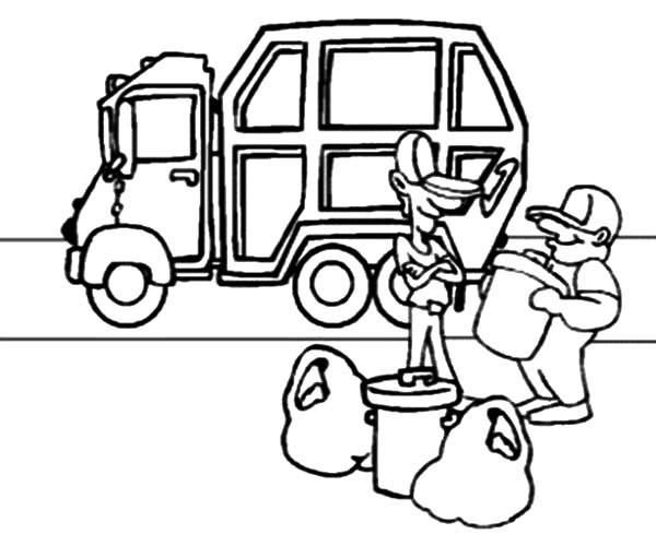 Garbage Man Collecting Garbage to Truck Coloring Pages.