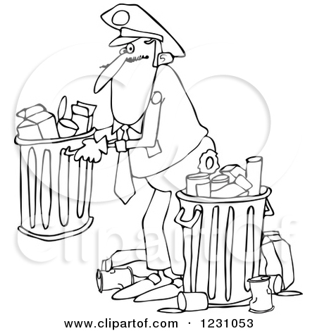 Clipart of a Black and White Man Picking up a Garbage Can.