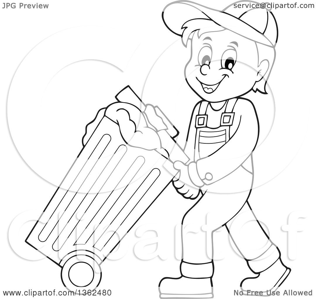 Clipart of a Cartoon Black and White Garbage Man Pushing a Rolling.