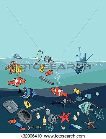Clipart of Water pollution in the ocean. Garbage and waste.