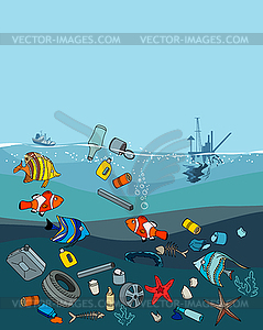pollution in ocean. Garbage and waste.