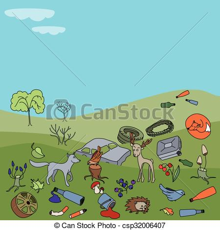 Vector Clip Art of Water pollution in the ocean. Garbage and waste.