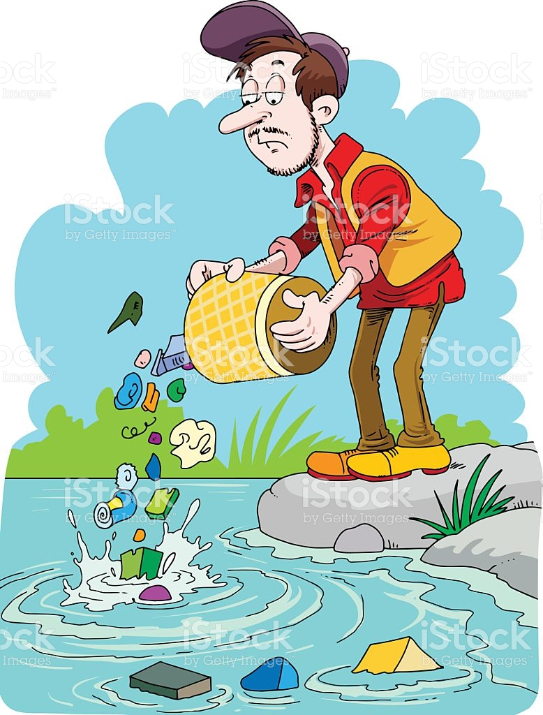 Polluted river clipart.