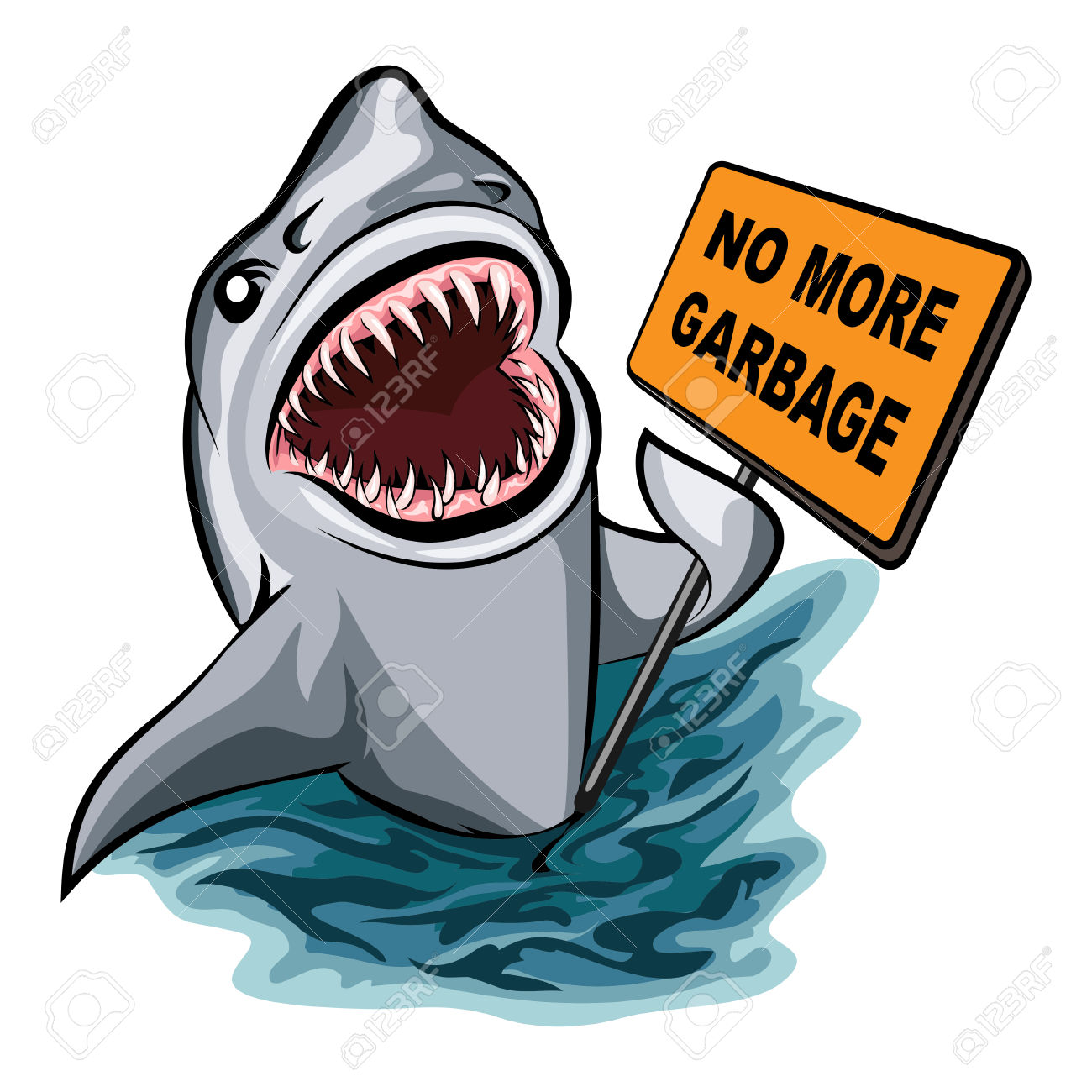 The Shark Voting Against Ocean Pollution And Garbage. Isolated.