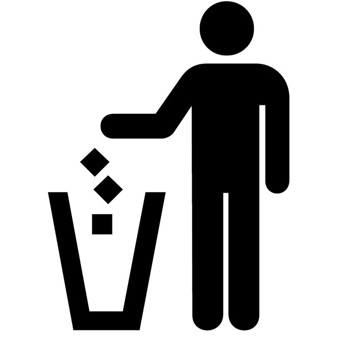 Litter disposal vector sign.