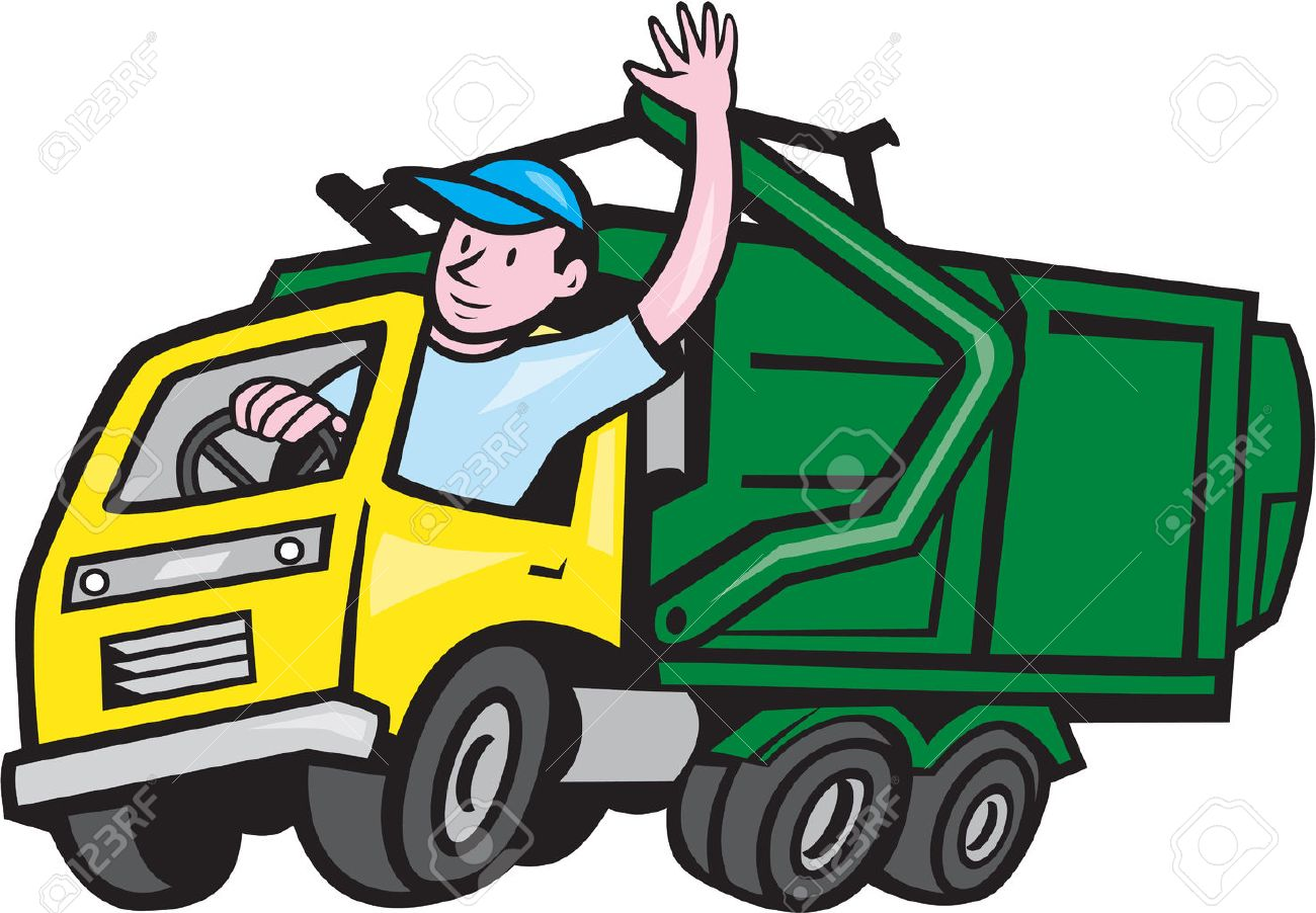Illustration of a garbage rubbish truck with driver waving hello...