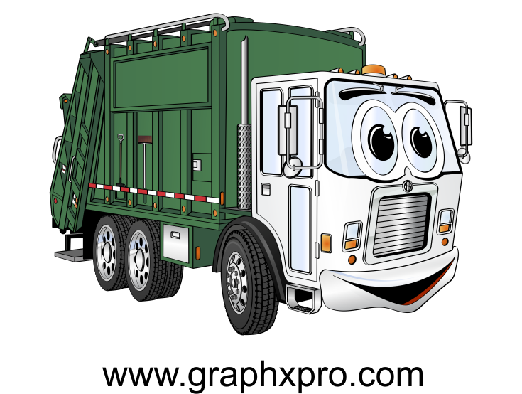 Green White Garbage Truck Cartoon.