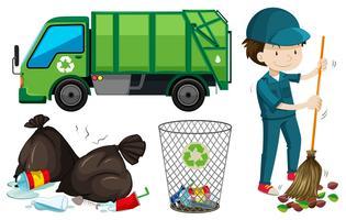 Garbage Truck Free Vector Art.