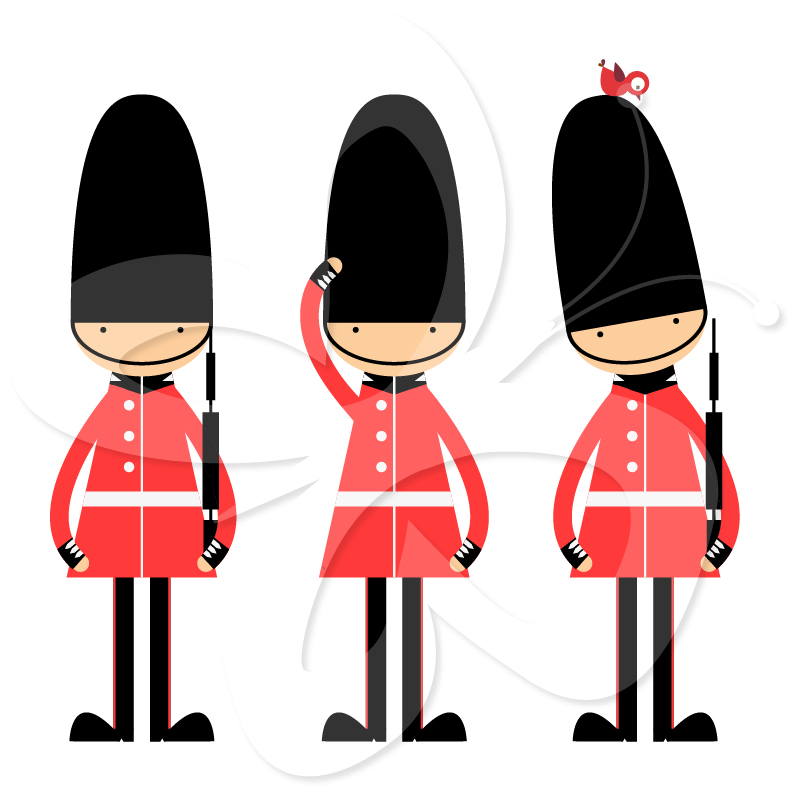Queens Guard Clip Art Set.