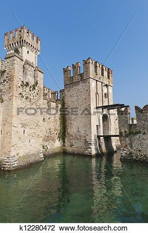 Clip Art of Medieval Castle on Lake Garda k12280472.