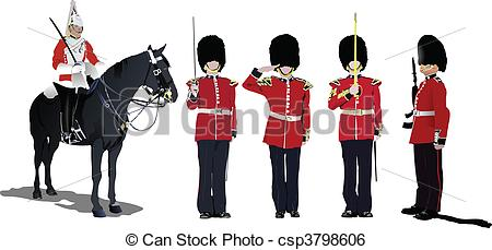 Clip Art Vector of Vector image of five beefeaters. E.