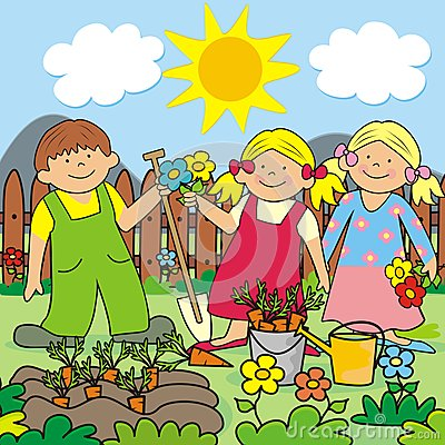Community garden children clipart.