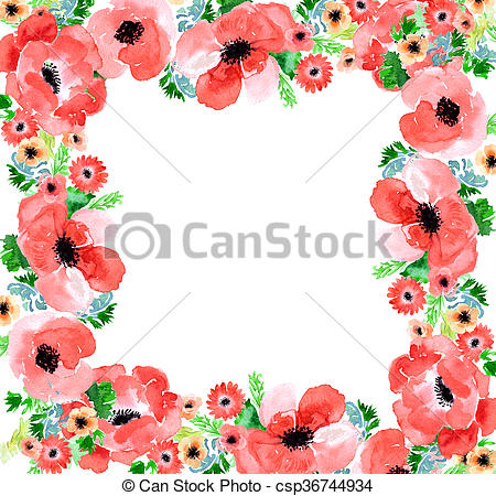 Drawings of Floral watercolor background anemone.