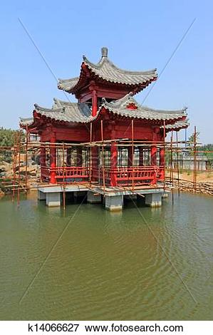 Picture of Chinese classical garden architecture landscape.