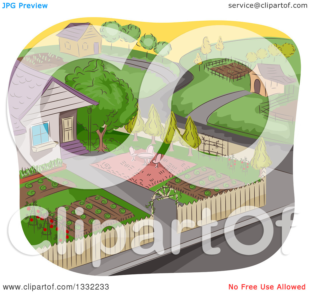 Clipart of a Sketched Neighborhood with a Garden in the Foreground.
