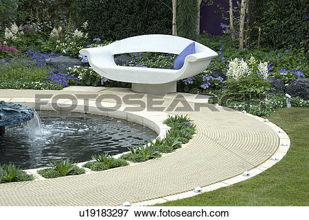Picture of White stone seat in modern pool setting (Home & Garden.