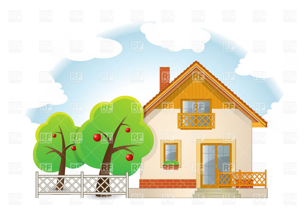 Country House with Garden Vector Image #5747.