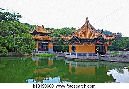 Stock Illustrations of generic chinese garden architecture.