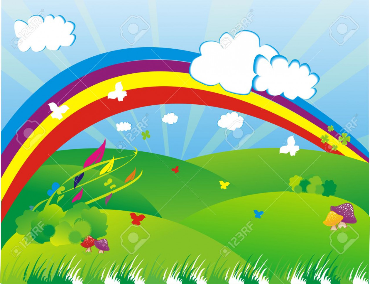 Beautiful garden with rainbow background clipart 9 » Clipart.