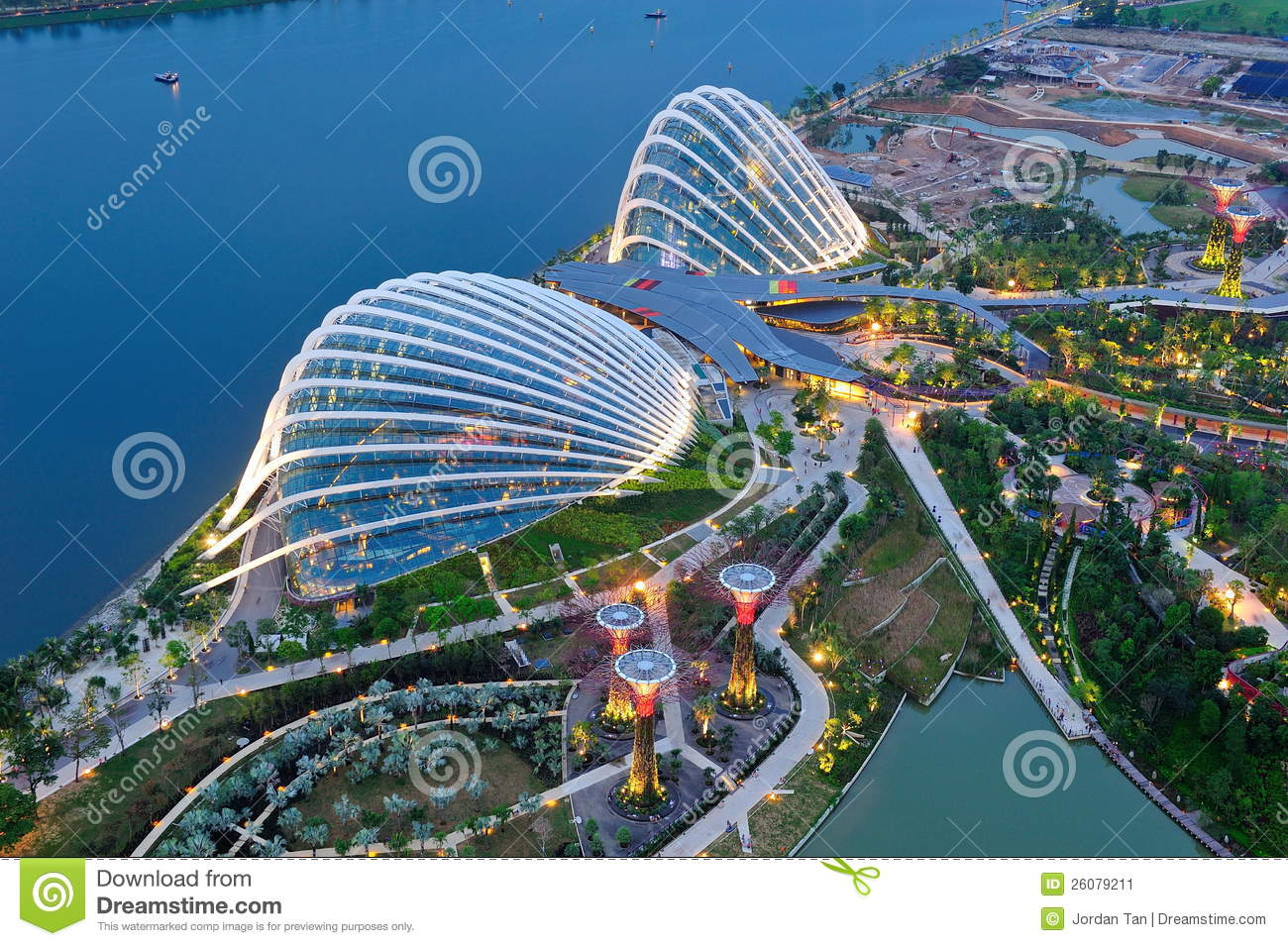 Aerial Of The Gardens By The Bay Conservatories Editorial Photo.