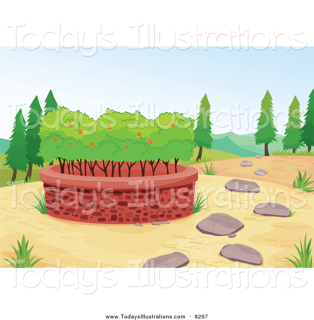 Clipart of a Raised Garden Bed with Fruit Trees by colematt.