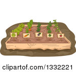 Clipart of Raised Garden Beds in a Yard.