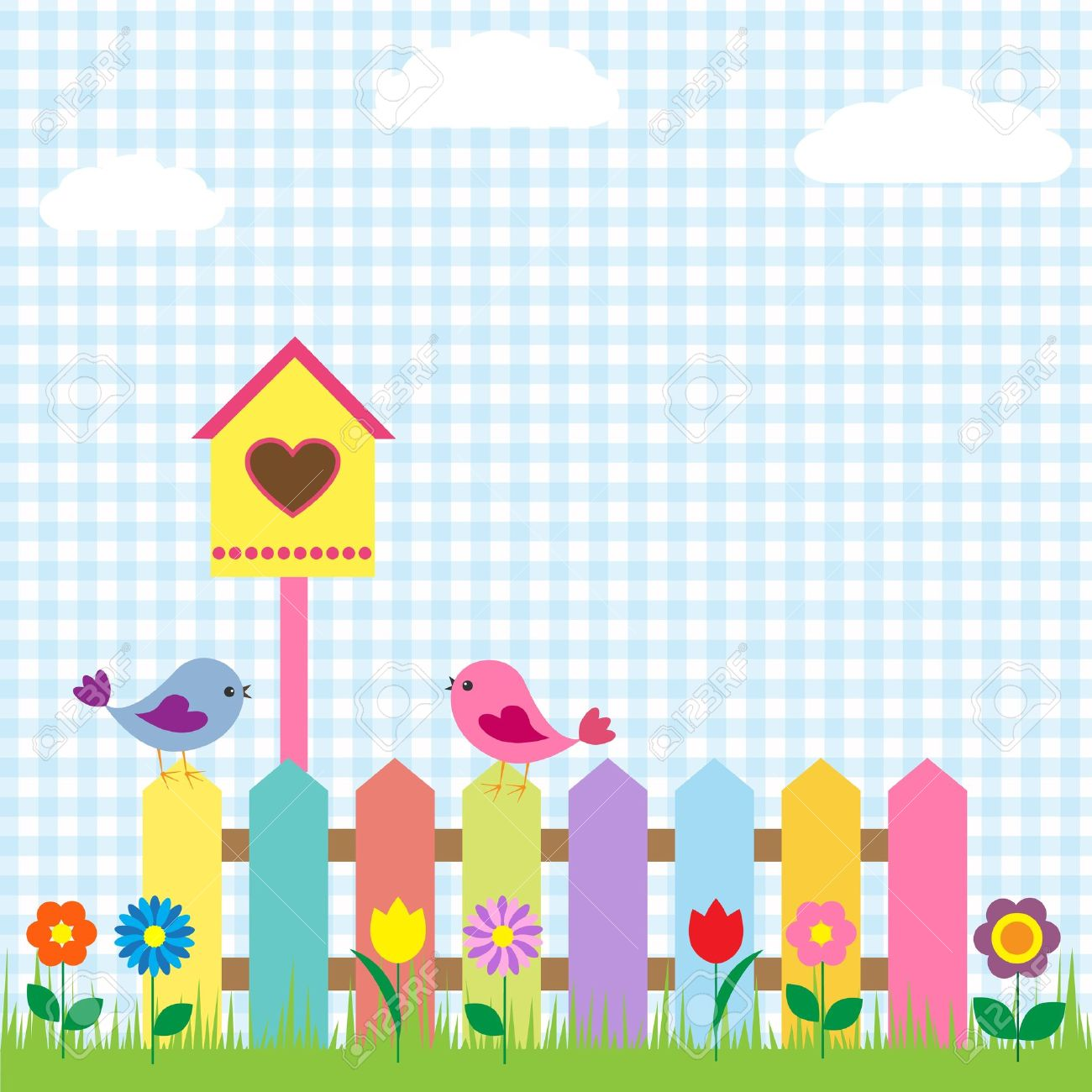Background With Birds And Birdhouse Royalty Free Cliparts, Vectors.
