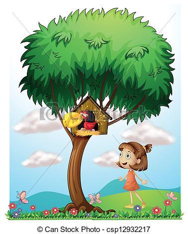 Vector Clip Art of A girl in the garden with a bird in a bird.