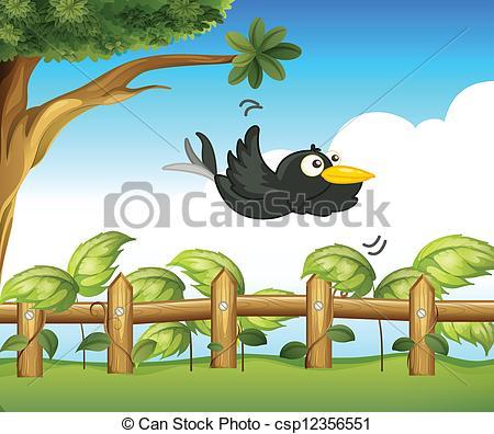 Clipart Vector of A bird in the garden.