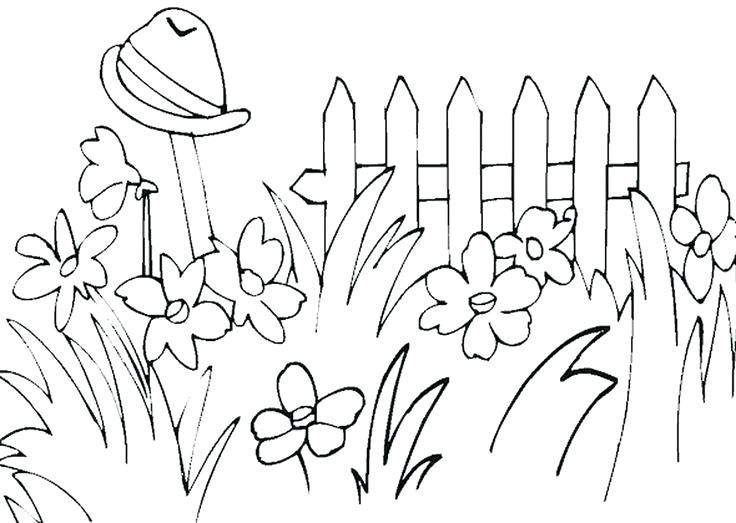 Clipart Black And White Garden.