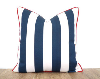 Red blue pillow.