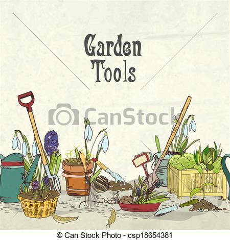 Garden tools clipart border.