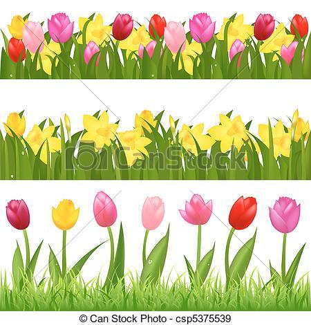 Flower garden border clip art.