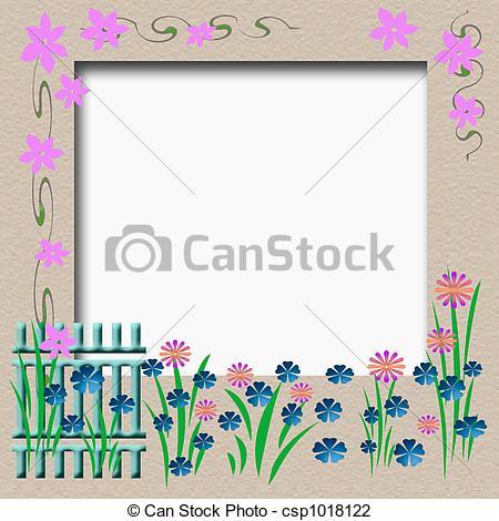 Clip Art of garden fence frame.