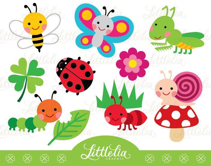 Garden bug cute digital clipart.