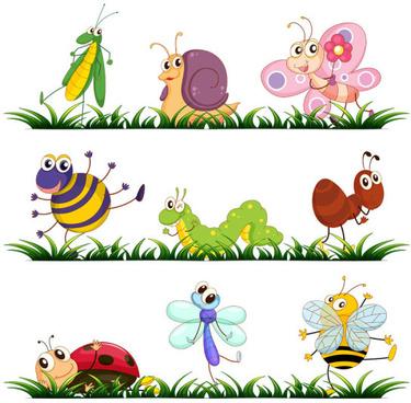 Cartoon insect garden clipart free vector download (22,472.