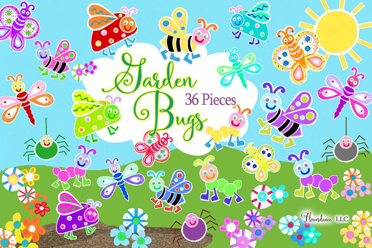 Watercolor Bugs Clipart, Garden Bugs, Bee, Ladybug.