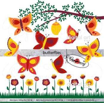 Garden Bug Butterflies Clipart by Poppydreamz.