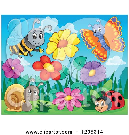 Clipart of a Spring Flower Garden with a Cartoon Happy Bee.