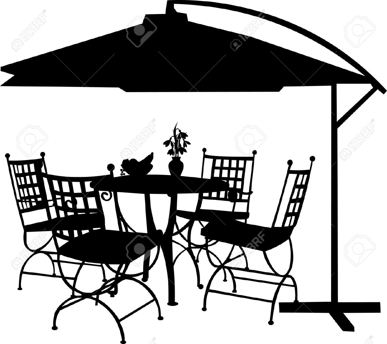 Garden table chairs party clipart.