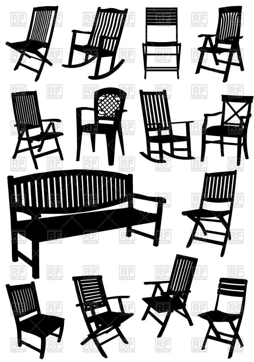 Collection of silhouettes of lawn (garden) furniture.