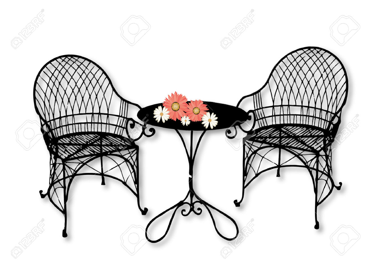 Garden Furniture With Flowers On The Table Royalty Free Cliparts.