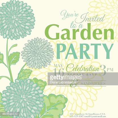 Chrysanthemum Design Garden Party Invitation Vector Art.